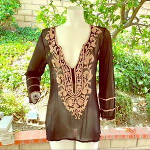 Ella moss black blouse with tan embroidery